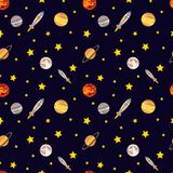 Vector Seamless Cosmos Pattern. Colorful Background, Deep Dark Background with Stars. stock illustration