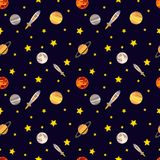 Vector Seamless Cosmos Pattern. Colorful Background, Deep Dark Background with Stars. royalty free illustration