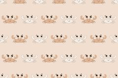 Vector seamless crab pattern illustration. Beige background and brown. Vector seamless crab pattern illustration. Print for textiles Royalty Free Stock Image