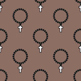 Vector seamless cross pattern abstract background with monochrome religion christianity print. Religious church catholicism texture with crosses graphic design Royalty Free Stock Photography