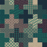 Vector Seamless Cross Quilt Patchwork Pattern In Green and Tan Colors Royalty Free Stock Photography