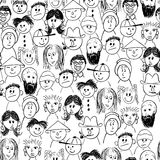 Vector seamless crowd of people. Vector seamless hand-drawn crowd of people royalty free illustration