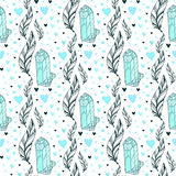 Vector seamless crystal gems pattern with feathers and hearts. Boho vector fashion print. Royalty Free Stock Photo