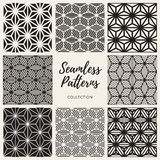 Vector Seamless Cube Shape Lines Geometric Pattern Collection. Set of Nine Vector Seamless Black And White Cube Shape Lines Geometric Pattern Collection Royalty Free Stock Photos