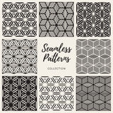 Vector Seamless Cube Shape Lines Geometric Pattern Collection. Set of Nine Vector Seamless Black And White Cube Shape Lines Geometric Pattern Collection Stock Photography