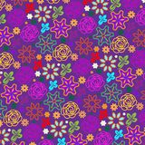 Violet colorful doodled roses in a seamless pattern vector illustration
