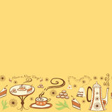 Vector seamless cute frame with a cup of tea Royalty Free Stock Images