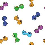 Vector seamless cute graphical cartoon dinosaur pattern. childhood design. Royalty Free Stock Images