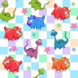 Vector seamless cute graphical cartoon dinosaur pattern. childhood design. Fantastic little dino royalty free illustration