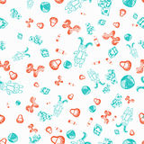 Vector seamless cute kid pattern with rabbit in glasses, toy horse, cubes and bib. EPS10 Royalty Free Stock Images