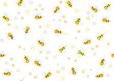 Vector seamless cute pattern of bees. Seamless  cute pattern bees cartoons  and flowers isolated on white Stock Photo