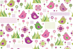 Vector seamless cute  pattern, birds and flora. Stock Photo
