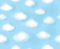 Vector seamless cute  pattern blue sky and white clouds. Royalty Free Stock Images