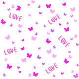 Vector Seamless Cute pattern with butterfly. Valentine's Day Stock Photography