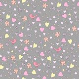 Small birds among flowers and hearts. Vector seamless cute pattern. Design of paper, fabric, wallpaper. Small birds among flowers and hearts Royalty Free Stock Photos