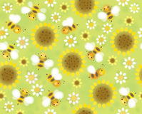 Vector seamless cute pattern flowers and bees, soft, blurred eff Royalty Free Stock Image