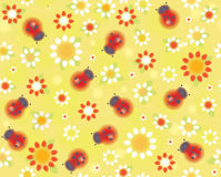 Vector seamless cute pattern ladybugs and flora. Royalty Free Stock Photo