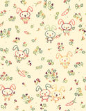 Vector seamless cute pattern, rabbits and flora. Royalty Free Stock Photography