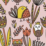 Pattern with tulips and birds vector illustration