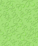 Vector Seamless 3D green paper cut Pattern Clover for St Patrick`s Day, Shamrock wrapping paper, ornament clover foliage Stock Photos