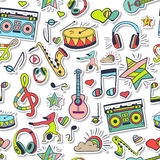 Vector seamless 3d music pattern. Hand draw, doodles. Stock Image