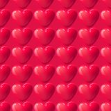 Vector seamless 3d red hearts texture. Valentines day romantic holiday background.  Stock Photography