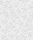 Vector Seamless 3D white paper cut Pattern Clover for St Patrick`s Day, Shamrock wrapping paper, ornament clover foliage Stock Images