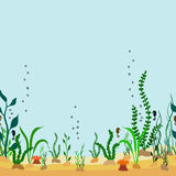 Vector seamless decorative border of cartoon seabed with seaweed. S and seahorse Royalty Free Stock Image