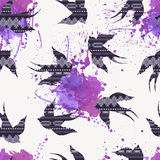 Vector seamless decorative ethnic pattern with swallows Royalty Free Stock Images