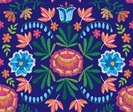 Vector seamless decorative floral embroidery pattern, ornament for textile decor. Bohemian handmade style background Stock Photos