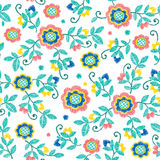Vector seamless decorative floral embroidery pattern, ornament for textile decor. Bohemian handmade style background Royalty Free Stock Photo