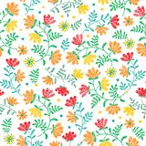 Vector seamless decorative floral embroidery pattern, ornament for textile decor. Bohemian handmade style background Stock Photo