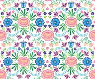 Vector seamless decorative floral embroidery pattern, ornament for textile decor. Bohemian handmade style background Royalty Free Stock Image