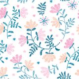 Vector seamless decorative floral embroidery pattern, ornament for textile decor. Bohemian handmade style background. Vector seamless decorative floral stock illustration