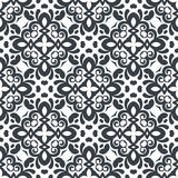 Vector seamless decorative floral pattern. Black and white color Royalty Free Stock Photos