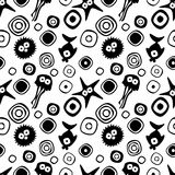 Vector seamless decorative pattern with hand drawn fish, starfish, octopus. Endless black and white background. Template for wrapping, fabric, cover. Series of Stock Photography