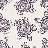 Vector seamless decorative pattern. Hand drawn turtle tribal bac Stock Photo