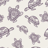 Vector seamless decorative pattern with ornamental turtles. Hand Royalty Free Stock Image