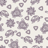Vector seamless decorative pattern with ornamental turtles, sun Stock Image
