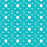 Vector seamless dental pattern with line icons. stock illustration