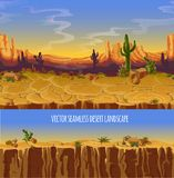 Vector seamless desert landscape. Game cartoon banner. Vector seamless desert landscape. Cartoon poster, banner for game. Background, panorama with wild nature Stock Photography