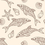 Vector seamless dolphin pattern with hand drawn  doodle illustrations. Royalty Free Stock Photography