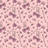 Vector seamless doodle. Valentine pattern with hearts, butterflies and flowers stock illustration
