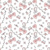 Vector seamless doodle. Valentine pattern with hearts, butterflies and flowers vector illustration