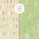 Vector seamless doodle background set. Vector doodle seamless patterns.Hand-drawn pencil pattern with flowers and strips on a textured background. Can be used Stock Photo