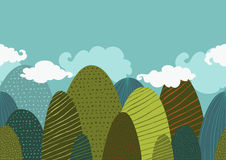 Vector seamless doodle background with textured green mountains Royalty Free Stock Image