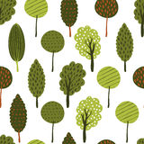 Vector seamless doodle background with textured green trees. Royalty Free Stock Photography