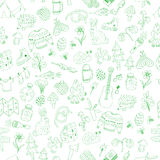 Vector seamless doodle camping pattern Royalty Free Stock Image