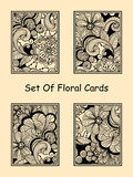 Vector Seamless Doodle Floral Cards Royalty Free Stock Photos