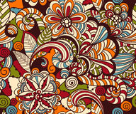 Vector Seamless Doodle Floral Pattern Stock Image